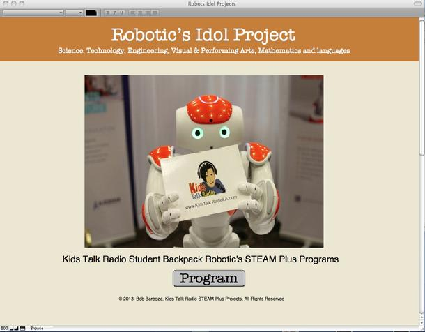 Kids Talk Radio, Boackpack Robotics, Bob Barboza